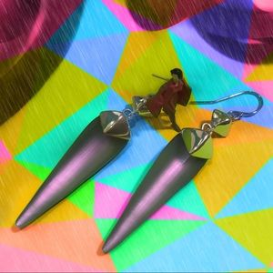 Rose opal lucite pyramid capped spear earrings